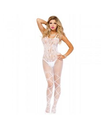 Bodystocking blanc multiple bretelles jambes effet lacé ouverture sur les fesses