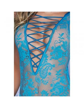 Body bleu turquoise dentelle florale laçage avant arrière - MAL7107TEA