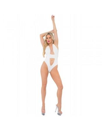 Body string blanc ajouré sur la poitrine et le ventre - PLK20026-WHT