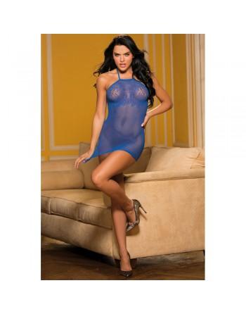 Nuisette courte blue fine résille et motifs poitrine - SOH90402BLU