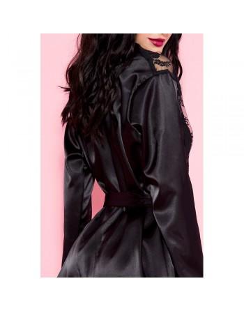 Peignoir déshabillé noir satin et dentelle avec ceinture satinée - ML60078BLK