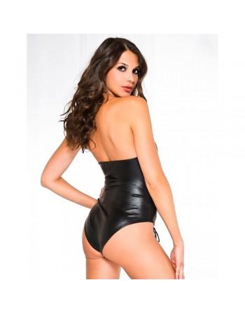 Body sexy noir wetlook ajouré avec laçage - ML80012BLK