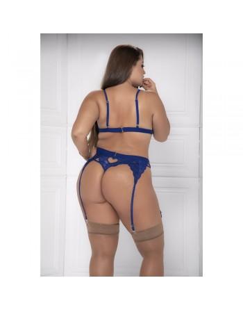 Ensemble 3 pièces bleu grande taille  soutien-gorge string porte-jarretelles - MAL8221XBLU