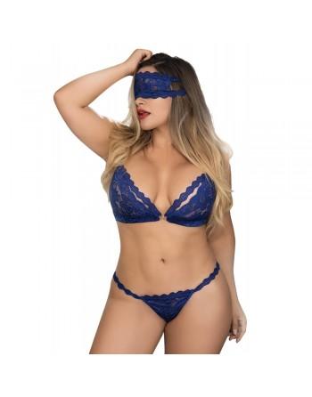 Ensemble dentelle bleu grande taille masque et menottes - MAL8218XBLU