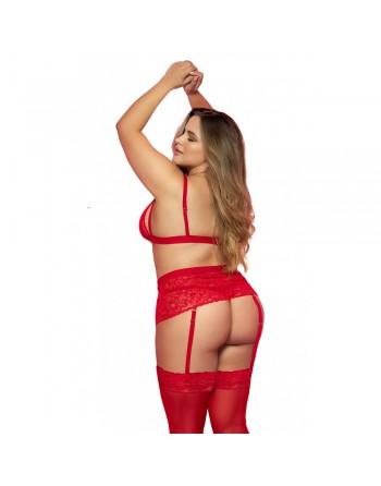Ensemble, grande taille, trois pièces en dentelle rouge - MAL8561XRED