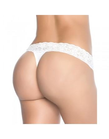 String sexy blanc avec dentelle - MAL96WHT
